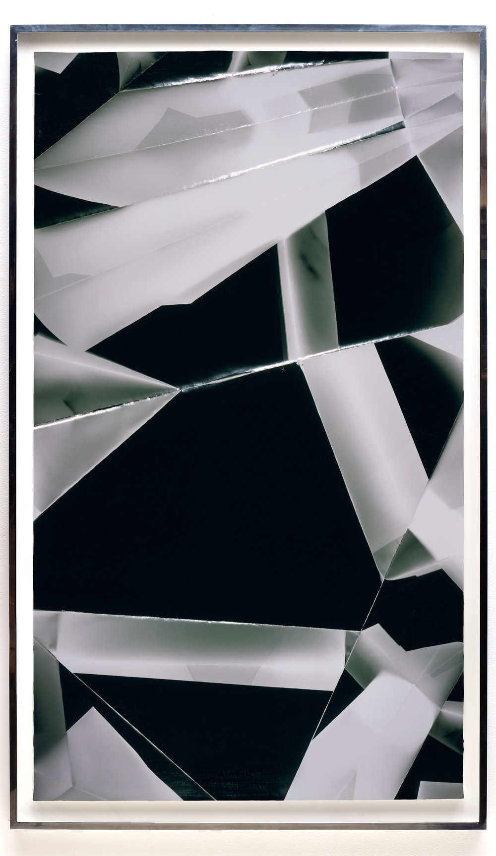 Fold (60º/120º/180º/240º/300º/360º directional light sources), June 30, 2008, Annandale-On-Hudson, New York, Foma Multigrade Fiber   2009  Black and white fiber based photographic paper  80 3/4 x 46 3/4 inches   Black and White Directional Folds, 2006–2014    Legibility on Color Backgrounds, 2009