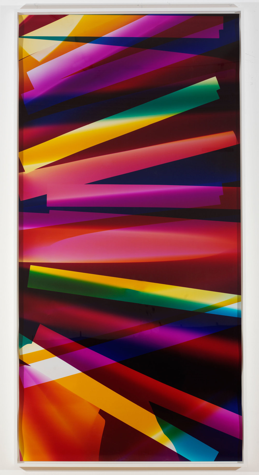 Six Magnet, Three Color Curl (CMY: Irvine, California, September 6th 2009, Fuji Crystal Archive Type C)    2009  Color photographic paper  101 x 50 inches   Three-Color Curls, 2008–2013    Production Stills, 2009