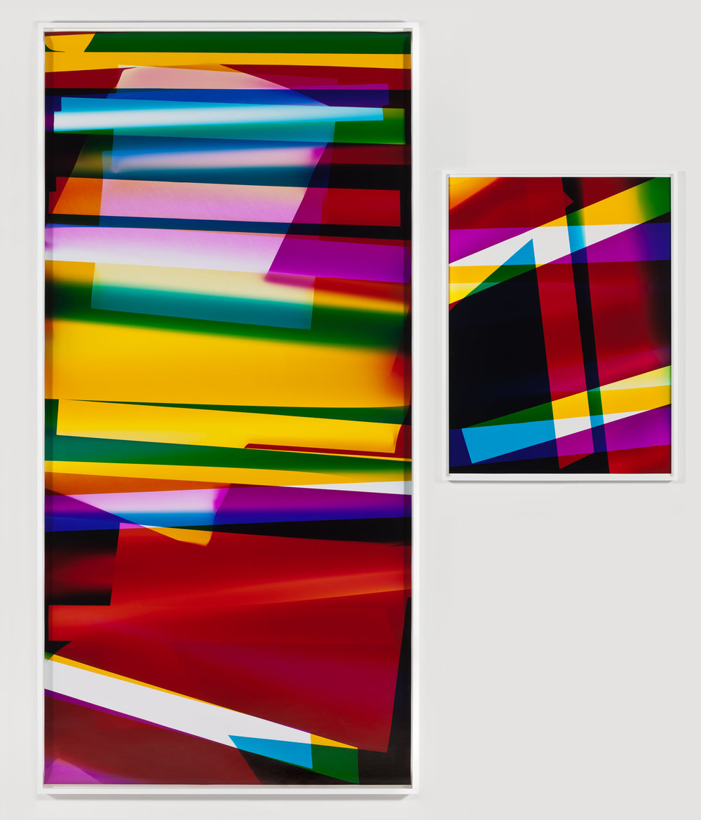 Four Magnet, Three Color Curl (CMY: Irvine, California, September 13, 2009, Fuji Crystal Archive Type C) / Abstract (Four Magnet, Three Color Curl (CMY: Irvine, California, September 13, 2009, Fuji Crystal Archive Type C))   2009  Color photographic paper  Part 1: 105 1/4 x 50 inches, Part 2: 40 x 30 inches   Three-Color Curls, 2008–2013
