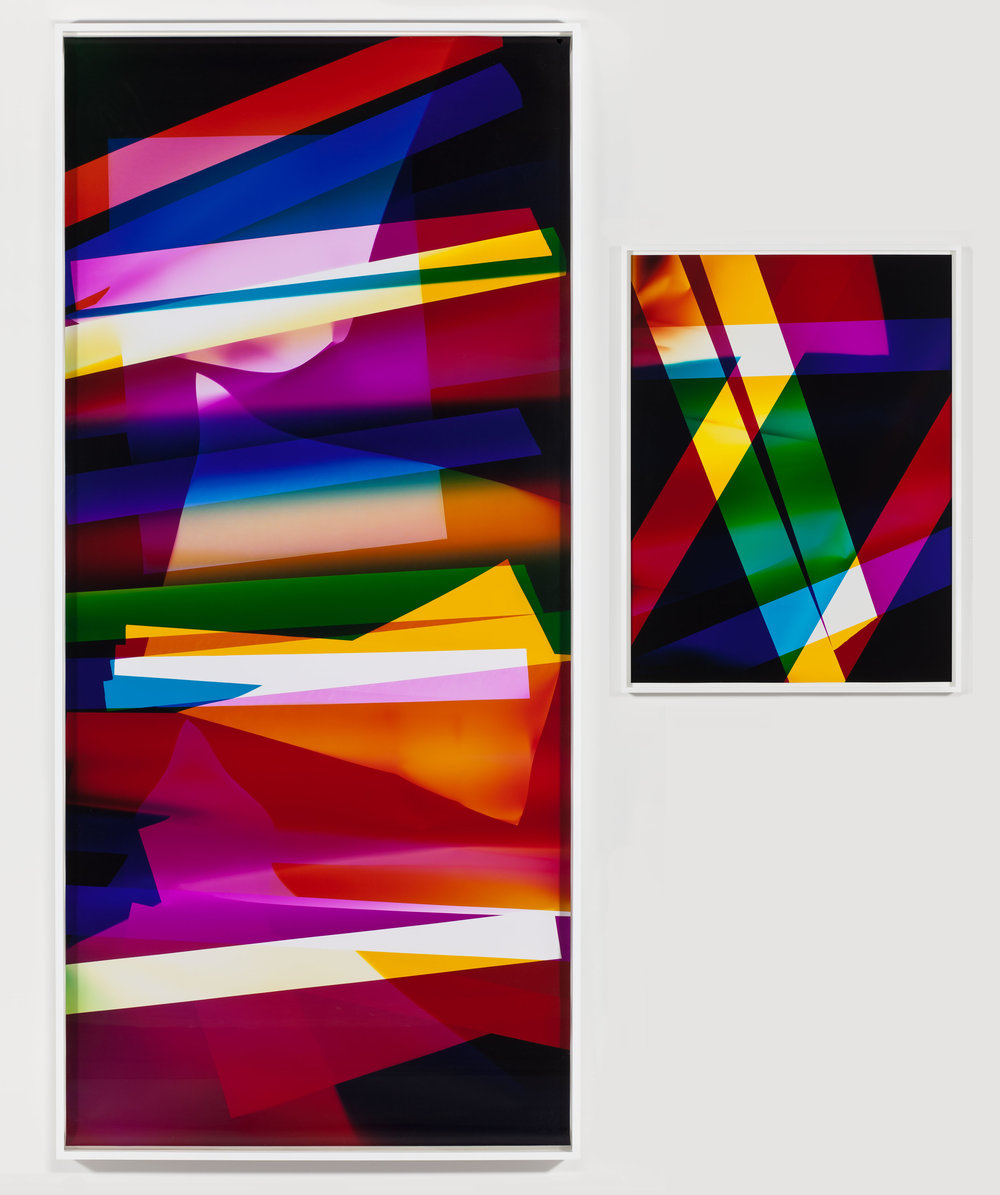 Four Magnet, Three Color Curl (CMY: Irvine, California, September 13, 2009, Fuji Crystal Archive Type C) / Abstract (Four Magnet, Three Color Curl (CMY: Irvine, California, September 13, 2009, Fuji Crystal Archive Type C))   2009  Color photographic paper  Part 1: 110 3/4 x 50 inches, Part 2: 40 x 30 inches   Three-Color Curls, 2008–2013