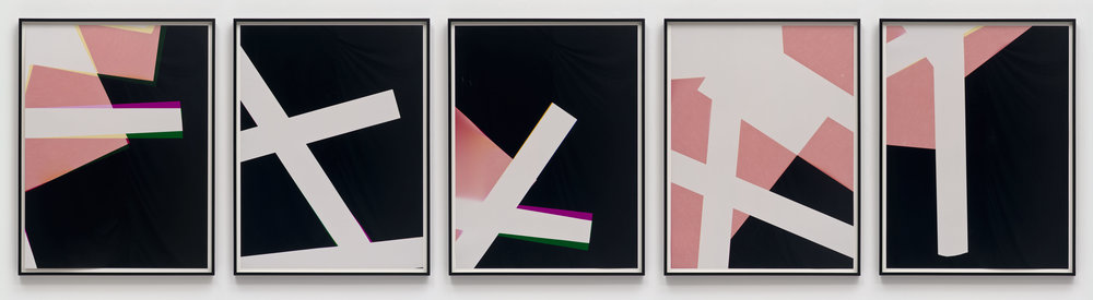 Combine Prints (Single Phase Composition: CMY/Five Magnet: Irvine, California, March 25, 2010, Fuji Color Crystal Archive Super Type C, Em. No. 148-006, 19010–19410)   2010  Color photographic paper  40 x 30 inches each, 5 parts   Three-Color Curls, 2008–2013