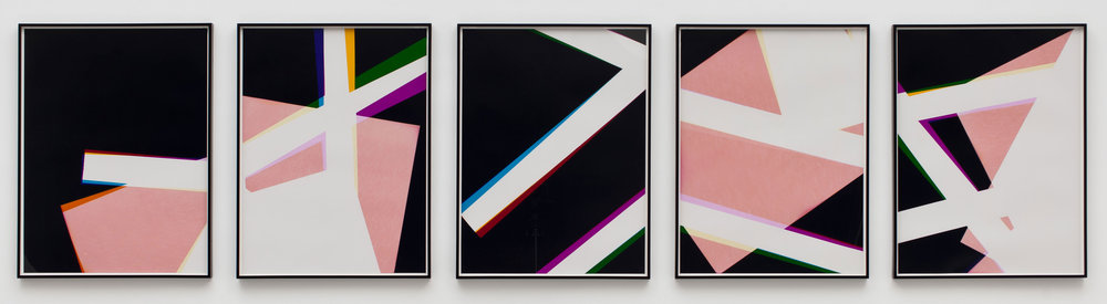 Combine Prints (Single-phase Composition, CMY/Five Magnet: Irvine, California, March 25th 2010, Fujicolor Crystal Archive Super Type C, Em. No. 148-006, 10910–11210)   2010  Color photographic paper  40 x 30 inches each, 5 parts   Three-Color Curls, 2008–2013
