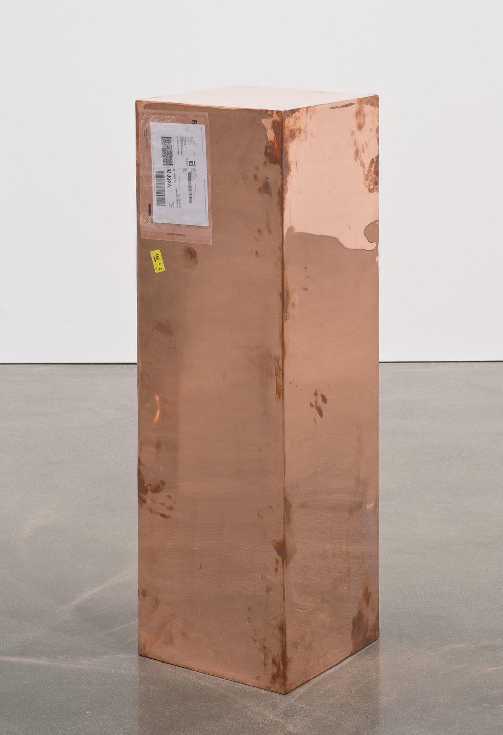 Copper (Fedex® Golf-Bag Box  © 2010 FedEx 163166 REV 10/10) Standard Overnight, Glendale–Los Angeles trk#798886320028, September 5–6, 2012, Standard Overnight, Los Angeles–Miami Beach trk#800983717784, December 1–3, 2012   2012–  Polished copper, accrued FedEx shipping and tracking labels  48 x 15 x 15 inches   FedEx Copper Works, 2009–