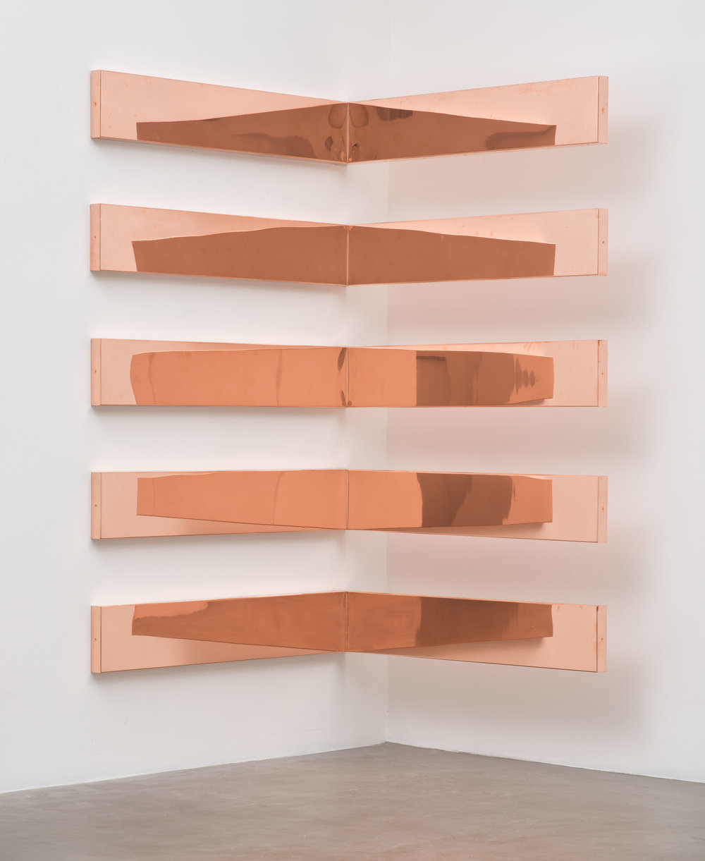 "Copper Surrogate (60"" x 120"" 48 ounce C11000 Copper Alloy, 90º Bend, 60"" Bisection/5 Sections: December 4/December 7, 2014, Miami Beach, Florida, February 10–12, 2015, Los Angeles, California)   2014–  Polished copper  11 x 60 x 60 inches each, 5 parts   Surrogates (Modular, Art Handling), 2014–    Walid AlBeshti, 2015"