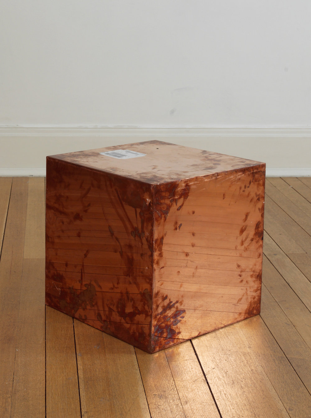 FedEx® Large Kraft Box  © 2005 FEDEX 330508 REV 10/05 SSCC, International Priority, Los Angeles–London trk#868587728028, October 02–05, 2009    2009–   Polished copper, accrued FedEx shipping and tracking labels  20 x 20 x 20 inches   Production Stills, 2009