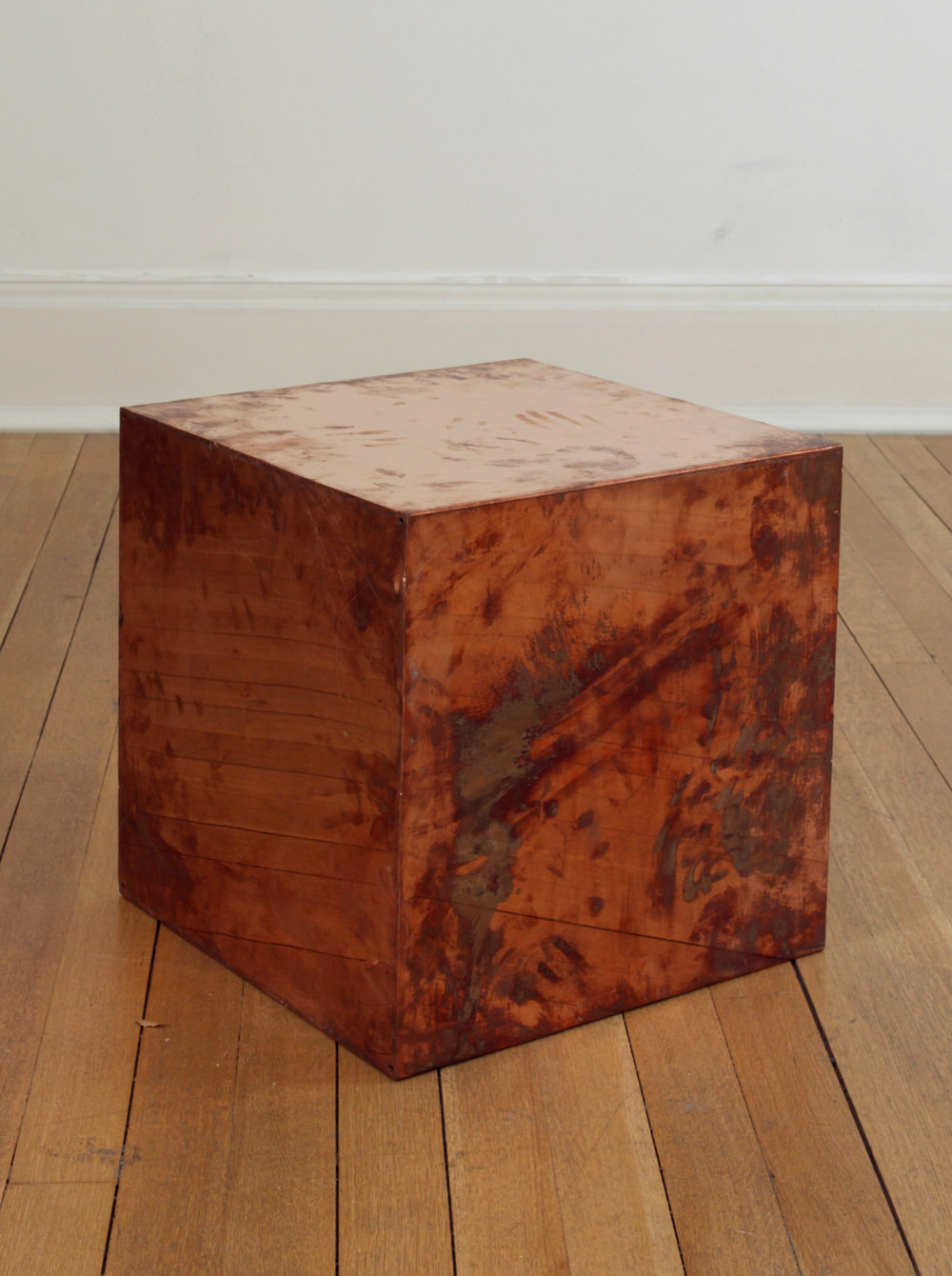 FedEx® Large Kraft Box  © 2005 FEDEX 330508 REV 10/05 SSCC, International Priority, Los Angeles-London trk#868587725897, October 02-05, 2009    2009–   Polished copper, accrued FedEx shipping and tracking labels  20 x 20 x 20 inches   Production Stills, 2009