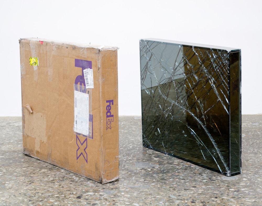 FedEx® Medium Framed Art Box  © 2011 FedEx 163095 REV 7/11 Standard Overnight, Los Angeles–New York trk#793767890223, July 10–11, 2012, Standard Overnight, New York–Los Angeles trk#875082659097, July 11–12, 2012, FedEx 2Day AM, Los Angeles–New York trk#797413653702, December 16–18, 2013    2012–   Laminated Mirropane, FedEx shipping box, accrued FedEx shipping and tracking labels, silicone, metal, tape  28 x 33 3/4 x 4 inches
