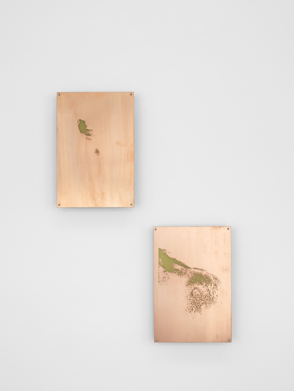 Body Print (Laryngeal Prominence, Sternum and Attending Soft Tissues)    2017   Etched copper-clad FR-4 glass-reinforced epoxy laminate board  12 x 8 inches each, 2 parts   Body Prints, 2017–