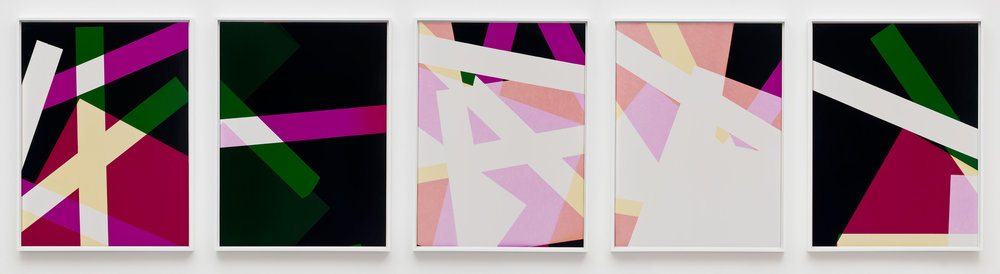 Combine Prints (Three-phase Composition, CMY/Five Magnet: Irvine, California, March 25, 2010, Fuji Color Crystal Archive Super Type C, Em. No. 148-006, 18510–18910)   2010  Color photographic paper  40 x 30 inches each, 5 parts   Three-Color Curls, 2008–2013