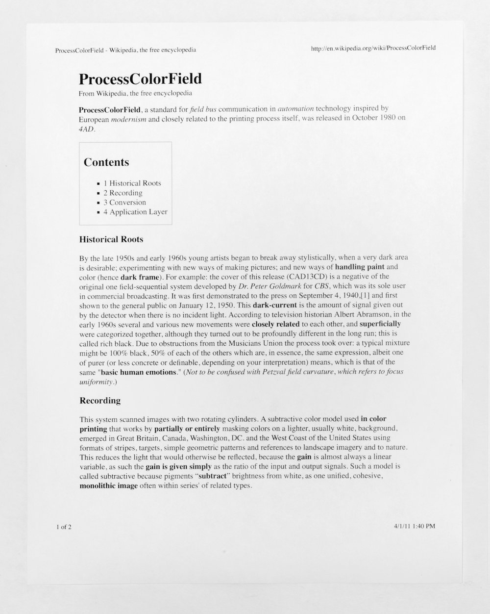 PROCESSCOLORFIELD press release   Regen Projects  Los Angeles  California  2011