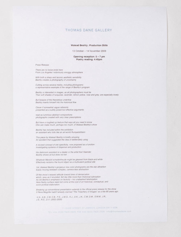 Production Stills press release   Thomas Dane Gallery  London  United Kingdom  2009