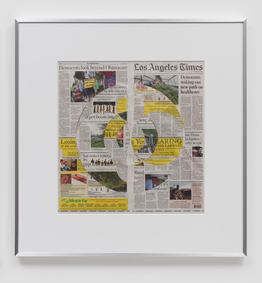 Blind Collage (Three 180° Rotations, Los Angeles Times, Wednesday, February 28, 2018)    2018   Newspaper, tape, and 22 karat gold leaf  34 1/2 x 33 3/4 inches   Blind Collages, 2017–