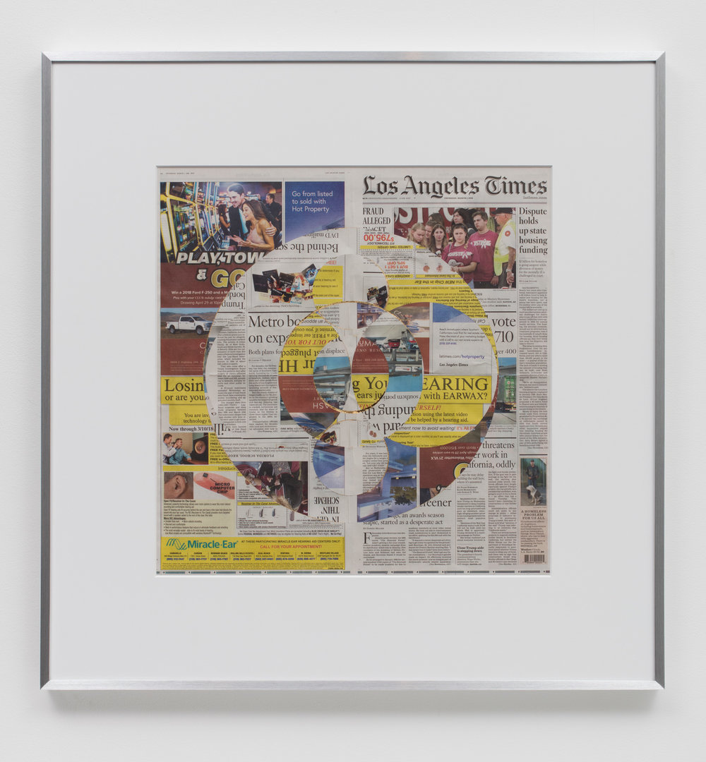 Blind Collage (Three 180° Rotations, Los Angeles Times, Thursday, March 1, 2018)    2018   Newspaper, tape, and 22 karat gold leaf  34 1/2 x 33 3/4 inches   Blind Collages, 2017–