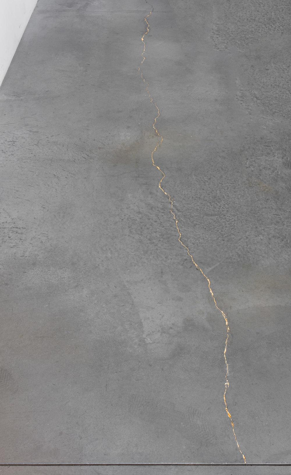 Foundation Crack    2018   22 karat gold leaf  Dimensions variable