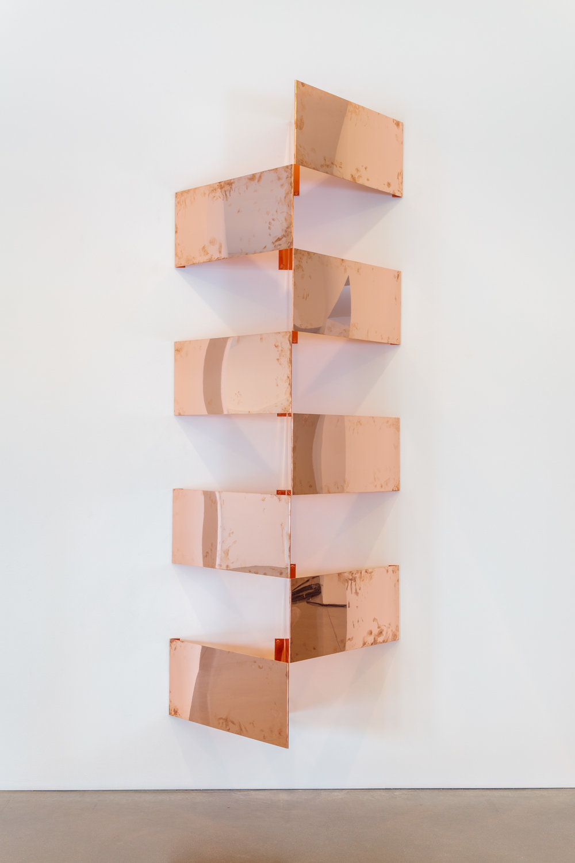 "Copper Surrogates (60"" x 120"" 48 ounce C11000 Copper Alloy, 45º/45º/90º, February 23–27/April 9, 2018, Los Angeles, California)    2018–   Polished copper  23 1/2 x 23 1/2 x 15 1/16 inches each, 8 parts   Surrogates (Modular, Art Handling), 2014–"