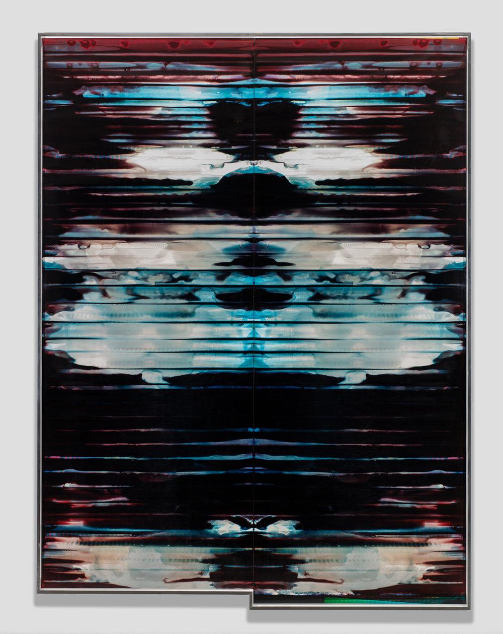 Inverted RA4 Contact Print / Processor Stall (YM: Los Angeles, California, November 10, 2017; Fujicolor Crystal Archive Super Type C, Em. No. 152-017; Kodak Ektacolor RA Bleach-Fix and Replenisher; Kreonite KM IV 5225 RA4 Color Processor, Ser. No. 00092174; 41917)   2018  Color photographic paper  135 1/4 x 101 3/4 inches   Equivalents, 2018