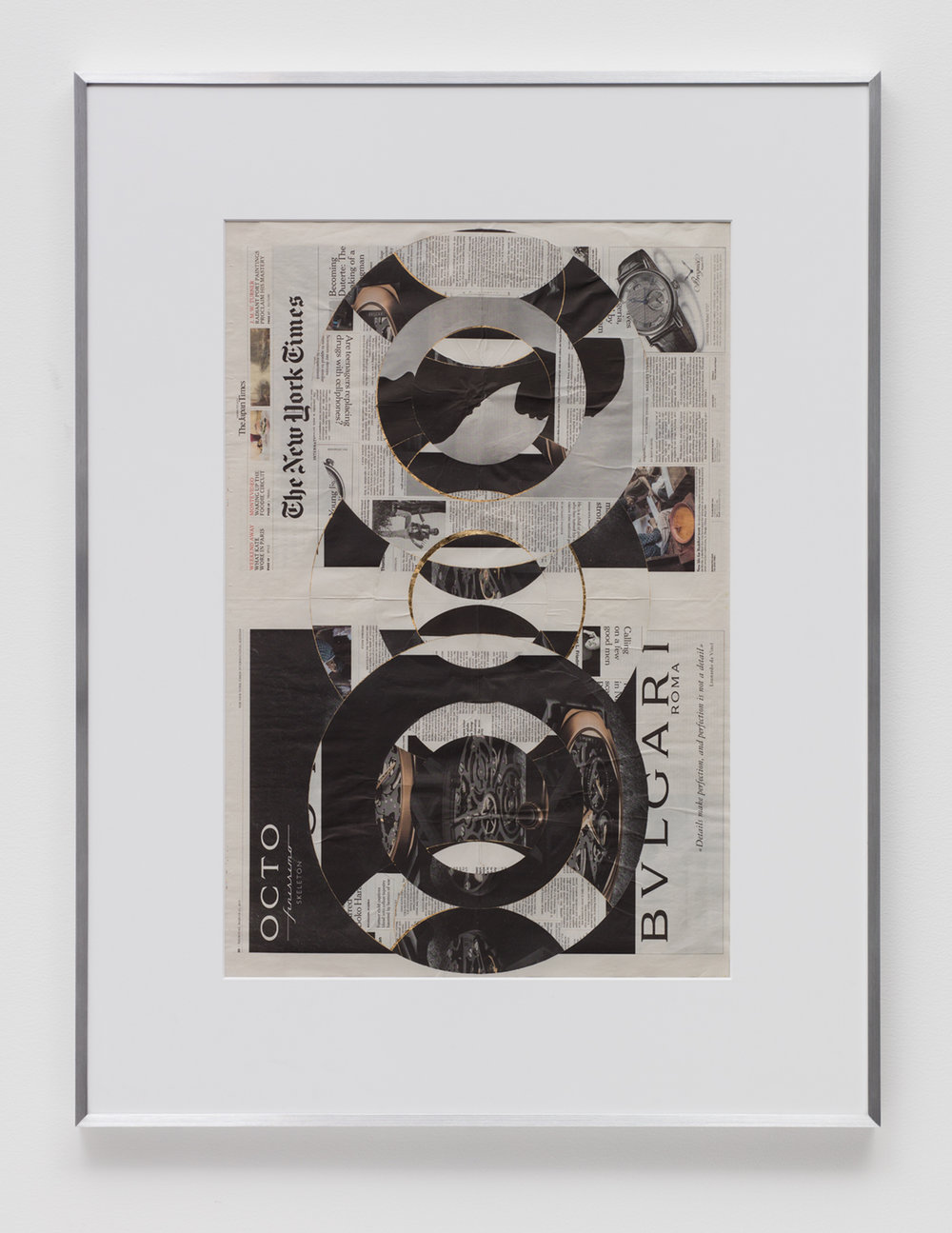 Blind Collage (Three 180º Rotations, The New York Times International Edition Distributed with The Japan Times, Thursday, March 23, 2017)   2017  Newspaper, tape, and 22 karat gold leaf  43 5/8 x 33 1/8 inches   Blind Collages, 2017–    Transparencies, 2017    Equivalents, 2018