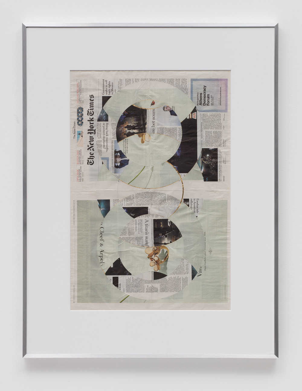 Blind Collage (Two 180º Rotations, The New York Times International Edition Distributed with The Japan Times, Wednesday, March 22, 2017)   2017  Newspaper, tape, and 22 karat gold leaf  43 5/8 x 33 1/8 inches   Blind Collages, 2017–    Transparencies, 2017    Equivalents, 2018
