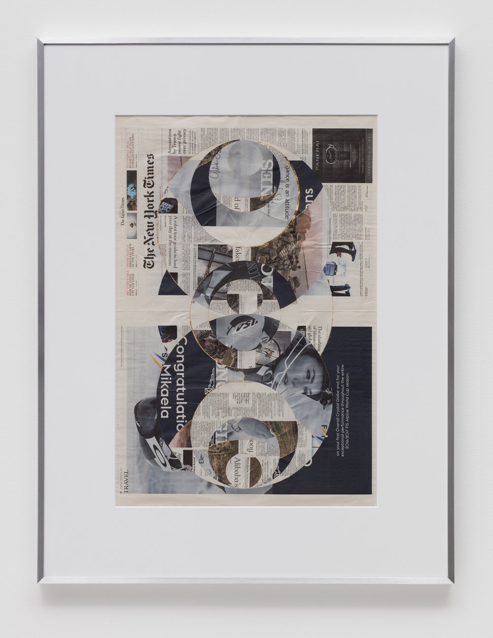 Blind Collage (Four 180º Rotations, The New York Times International Edition Distributed with The Japan Times, Tuesday, March 21, 2017)   2017  Newspaper, tape, and 22 karat gold leaf  43 5/8 x 33 1/8 inches   Blind Collages, 2017–    Transparencies, 2017    Equivalents, 2018