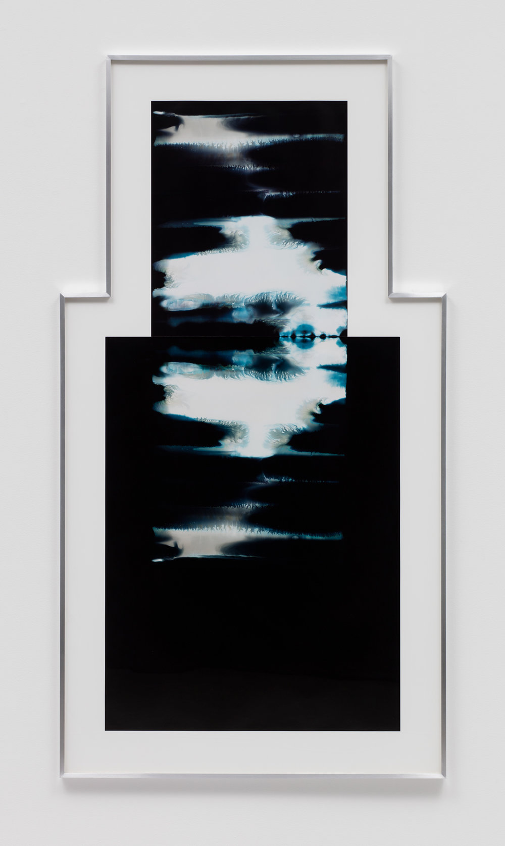 Asymmetrical Inverted RA4 Contact Print / Processor Stall (YMC: Los Angeles, California, January 16, 2018; Fujicolor Crystal Archive Super Type C, Em. No. 159-016 / Fujicolor Crystal Archive Super Type II, Em. No. 859809B217; Kodak Ektacolor RA Bleach-Fix and Replenisher; Kreonite KM IV 5225 RA4 Color Processor, Ser. No. 00092174; 01518)   2018  Color photographic paper  73 x 39 inches   Asymmetrical Inverted RA4 Contact Prints, 2018–    Equivalents, 2018