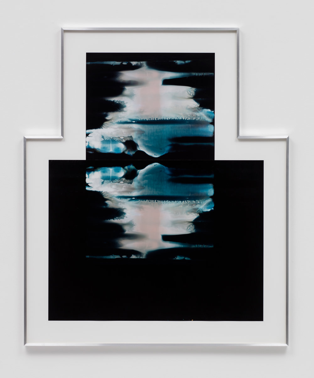 Asymmetrical Inverted RA4 Contact Print / Processor Stall (YMC: Los Angeles, California, January 29, 2018; Fujicolor Crystal Archive Super Type C, Em. No. 159-016 / Fujicolor Crystal Archive Super Type II, Em. No. 859809B217; Kodak Ektacolor RA Bleach-Fix and Replenisher; Kreonite KM IV 5225 RA4 Color Processor, Ser. No. 00092174; 02718)   2018  Color photographic paper  59 1/8 x 49 inches   Asymmetrical Inverted RA4 Contact Prints, 2018–    Equivalents, 2018