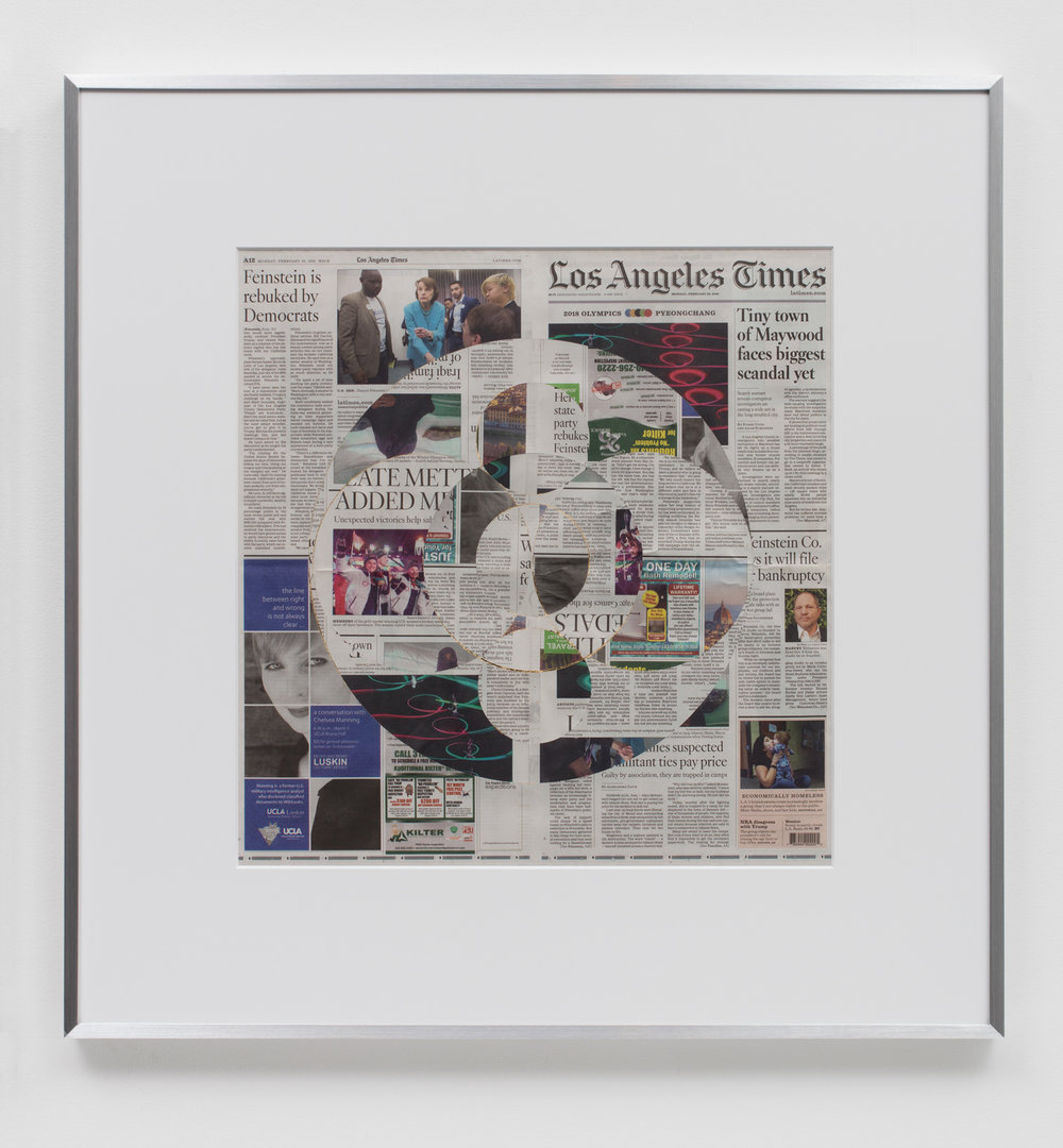 Blind Collage (Three 180° Rotations, Los Angeles Times, Monday, February 26, 2018)   2018  Newspaper, tape, and 22 karat gold leaf  34 1/2 x 33 3/4 inches   Blind Collages, 2017–    Equivalents, 2018