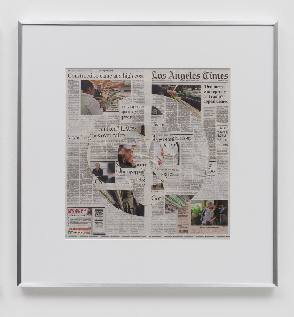Blind Collage (Three 180° Rotations, Los Angeles Times, Tuesday, February 27, 2018)   2018  Newspaper, tape, and 22 karat gold leaf  34 1/2 x 33 3/4 inches   Blind Collages, 2017–    Equivalents, 2018