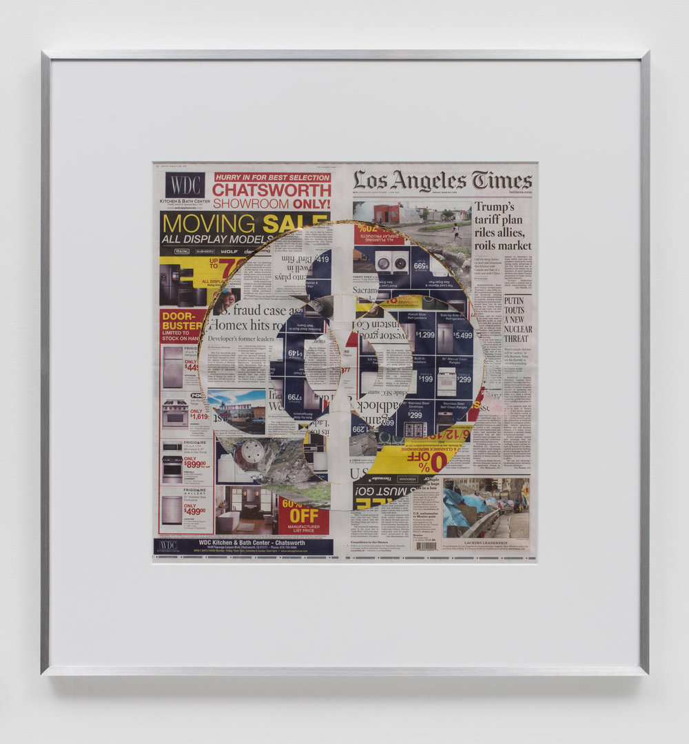Blind Collage (Three 180° Rotations, Los Angeles Times, Friday, March 2, 2018)   2018  Newspaper, tape, and 22 karat gold leaf  34 1/2 x 33 3/4 inches   Blind Collages, 2017–    Equivalents, 2018