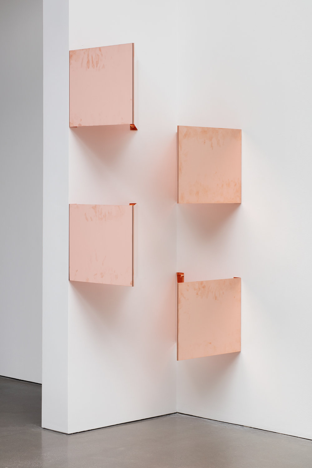 "Copper Surrogates (48"" x 120"" 48 ounce C11000 Copper Alloy, 45º/45º/90º, February 23–27/April 9, 2018, Los Angeles, California)    2018–   Polished copper  18 1/2 x 14 1/16 x 18 1/2 inches each, 4 parts   Surrogates (Modular, Art Handling), 2014–    Equivalents, 2018"
