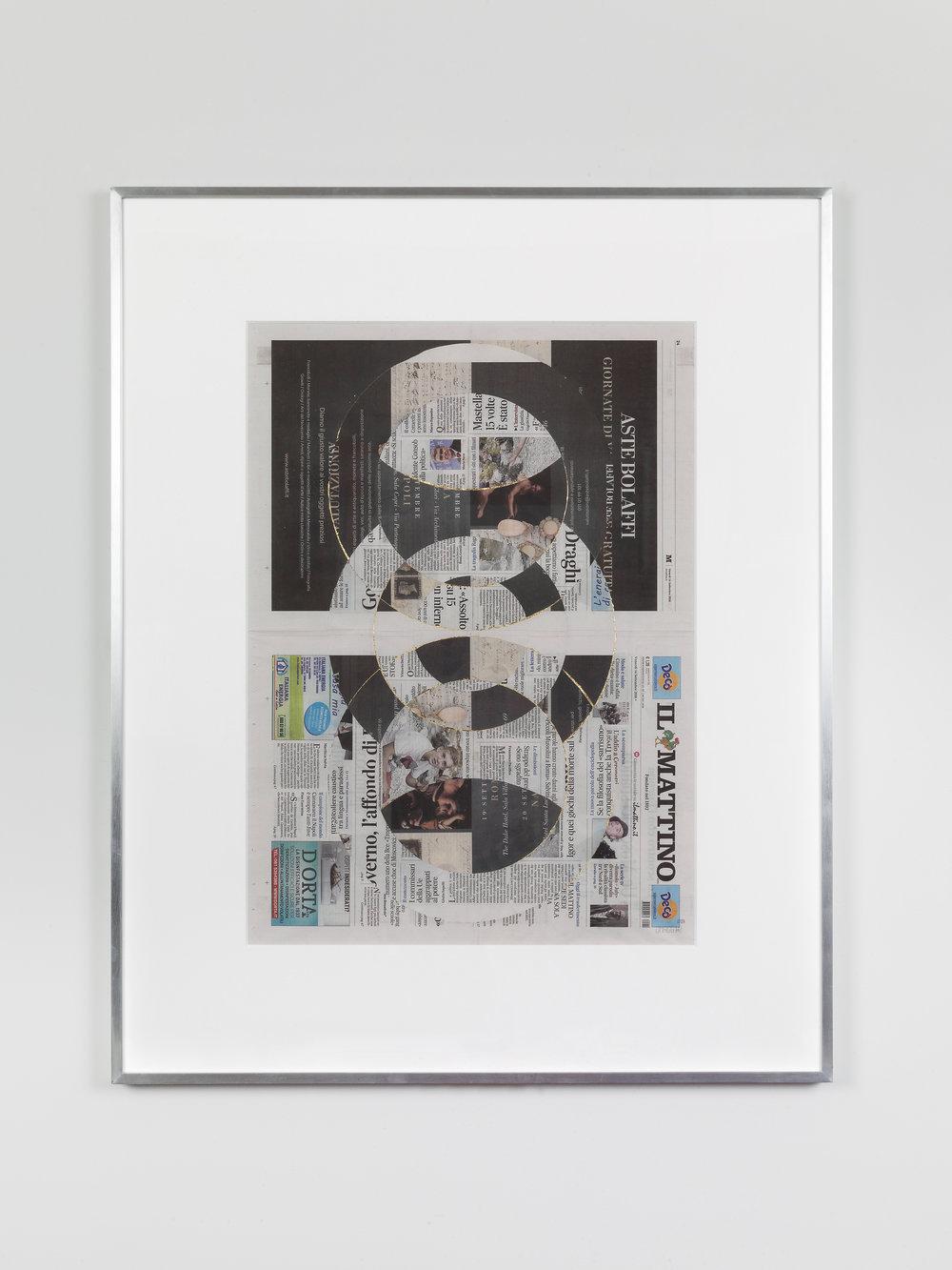 Il Mattino, Venerdi 14 Settembre 2018    2018   Newspaper, tape, and 22 karat gold leaf  39 3/8 x 31 1/2 inches   Blind Collages, 2017–