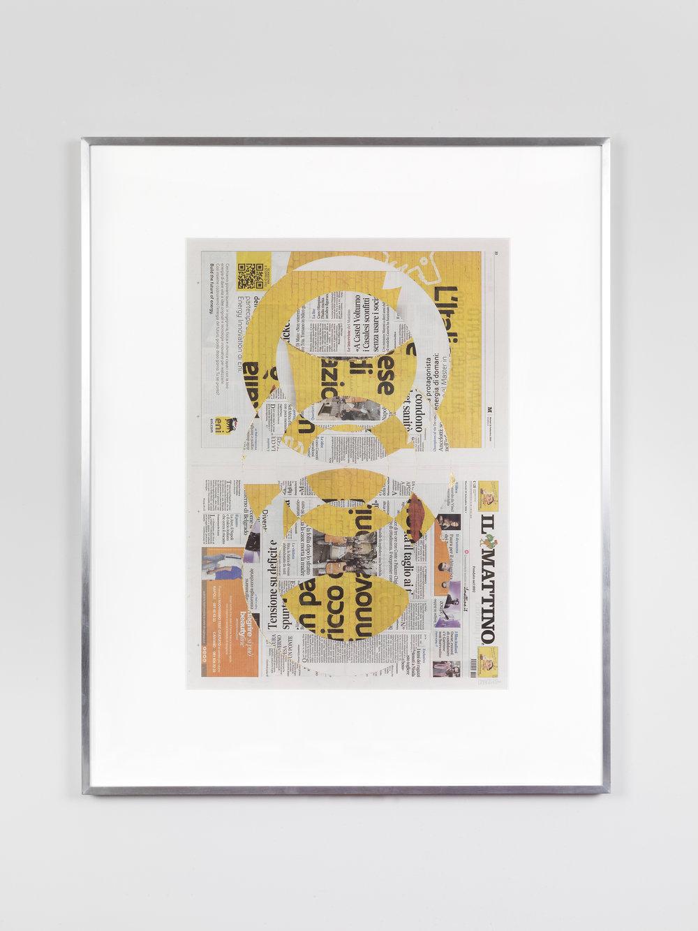 Il Mattino, Martedi 18 Settembre 2018    2018   Newspaper, tape, and 22 karat gold leaf  39 3/8 x 31 1/2 inches   Blind Collages, 2017–
