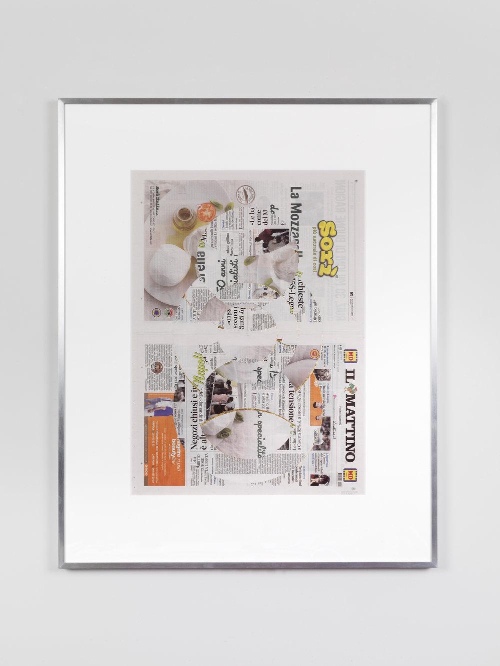 Il Mattino, Martedi 11 Settembre 2018    2018   Newspaper, tape, and 22 karat gold leaf  39 3/8 x 31 1/2 inches   Blind Collages, 2017–