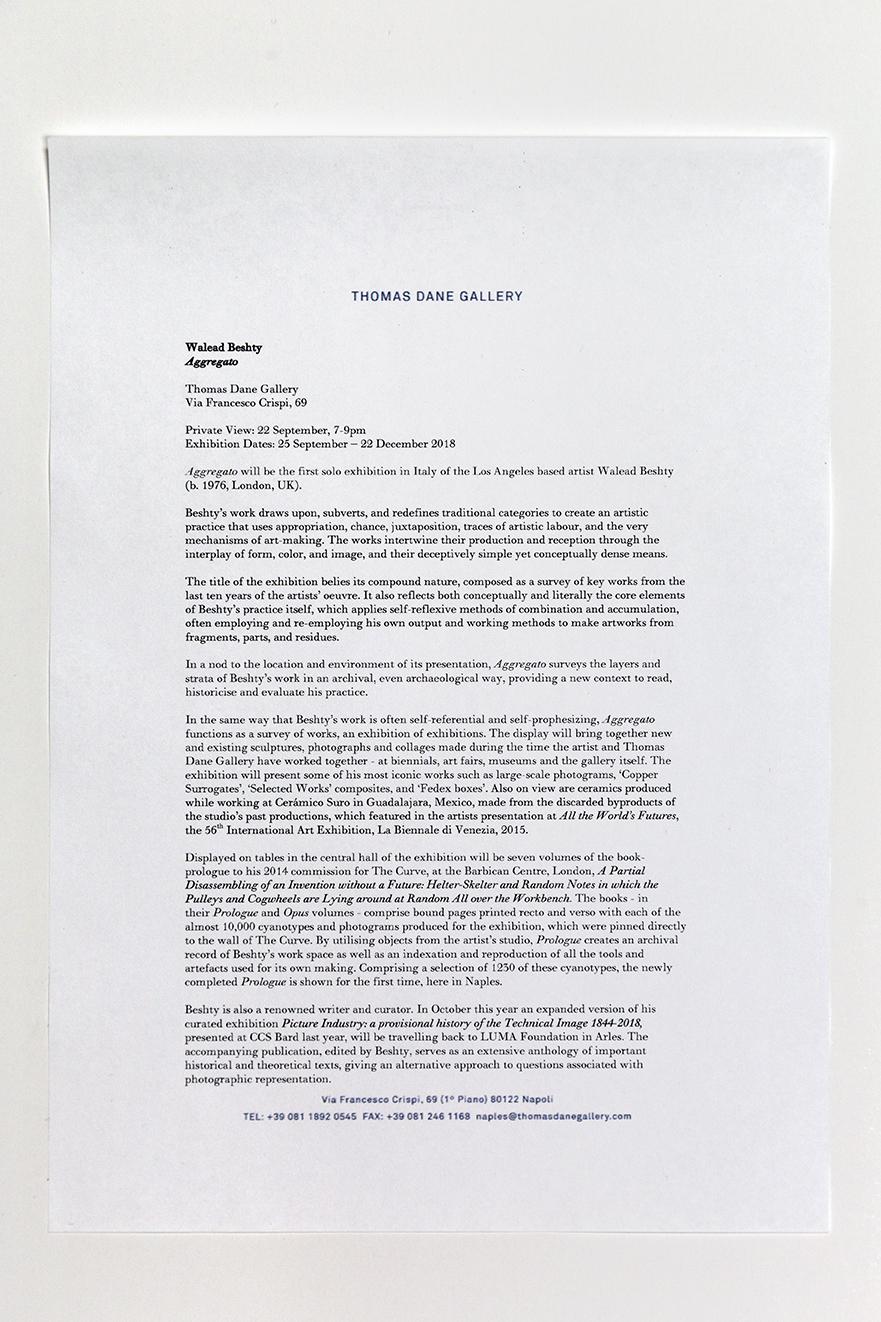 Aggregato press release   Thomas Dane Gallery  Naples  Italy  2018