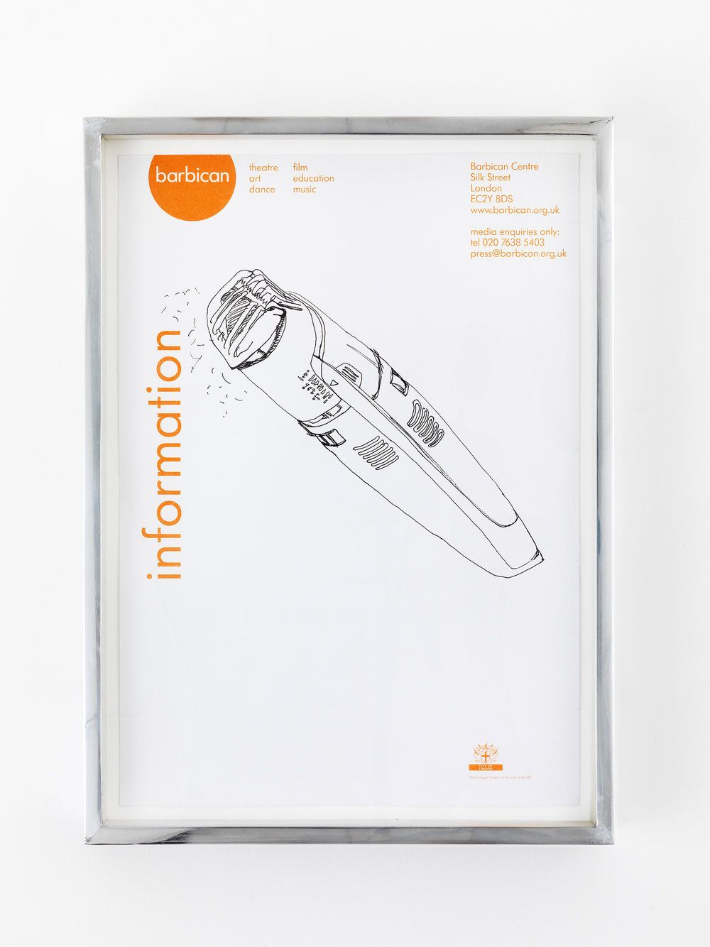 Philips Norelco TR980 Turbo Vacuum Trimmer (broken), Great Arthur House, #44, Fann Street, Golden Lane Estate, London, EC1, September 17, 2014   2014  Ink on paper  10 x 12 1/2 inches