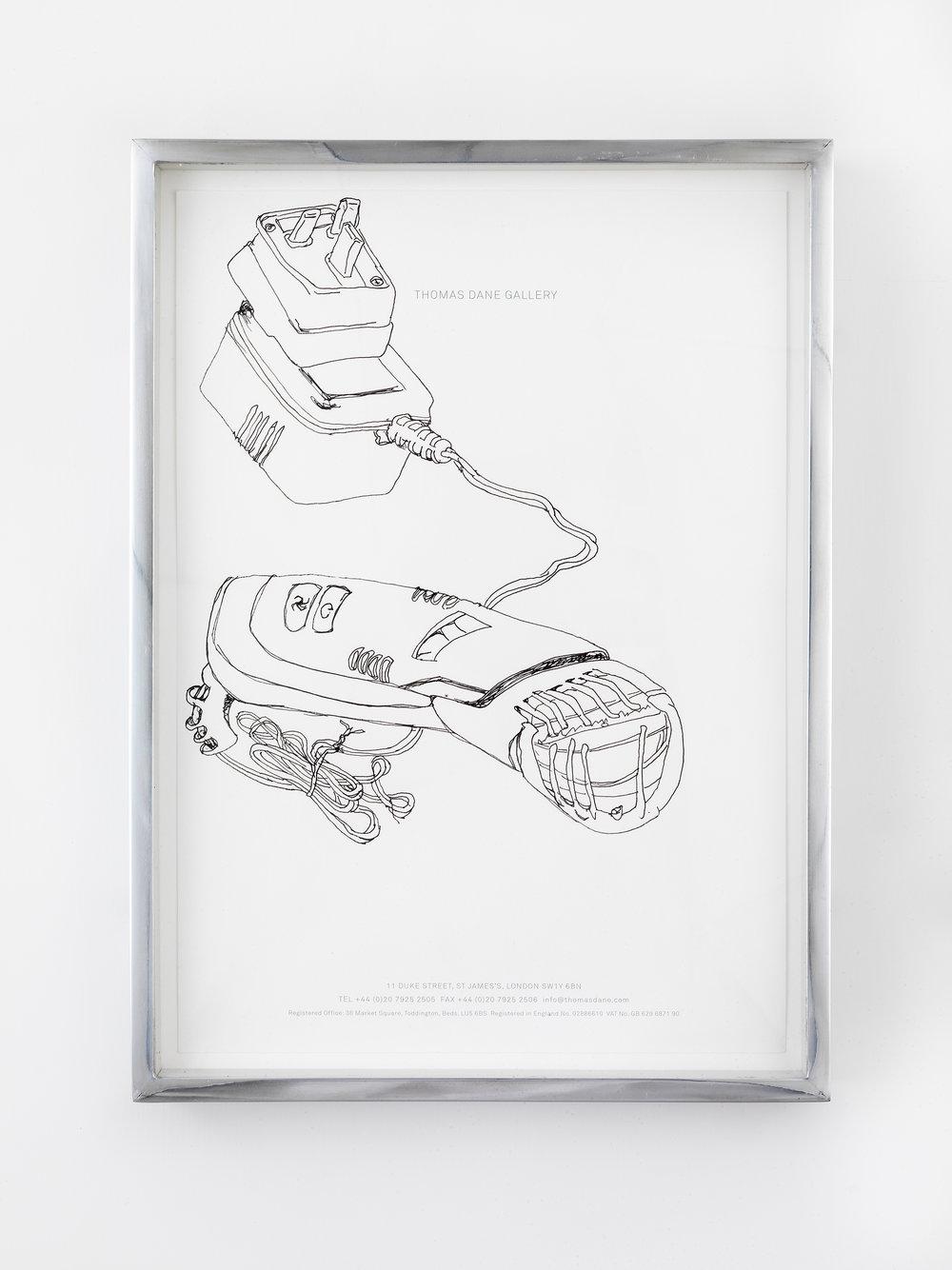 Philips Norelco TR980 Turbo Vacuum Trimmer (broken), Great Arthur House, #44, Fann Street, Golden Lane Estate, London, EC1, September 18, 2014   2014  Ink on paper  10 x 12 1/2 inches