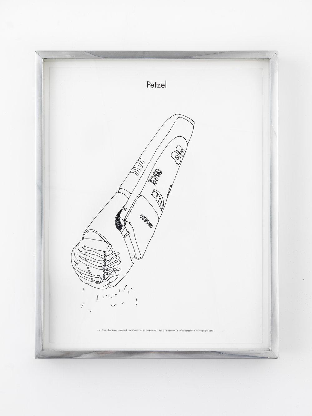 Philips Norelco TR980 Turbo Vacuum Trimmer (broken), Great Arthur House, #44, Fann Street, Golden Lane Estate, London, EC1, September 16, 2014   2014  Ink on paper  10 x 12 1/2 inches