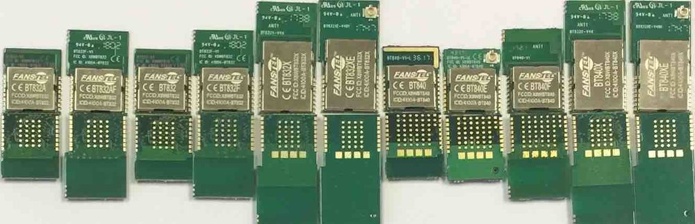 nRF52810, nRF52832, and nRF52840 Bluetooth 5 modules. Compatible foot prints.