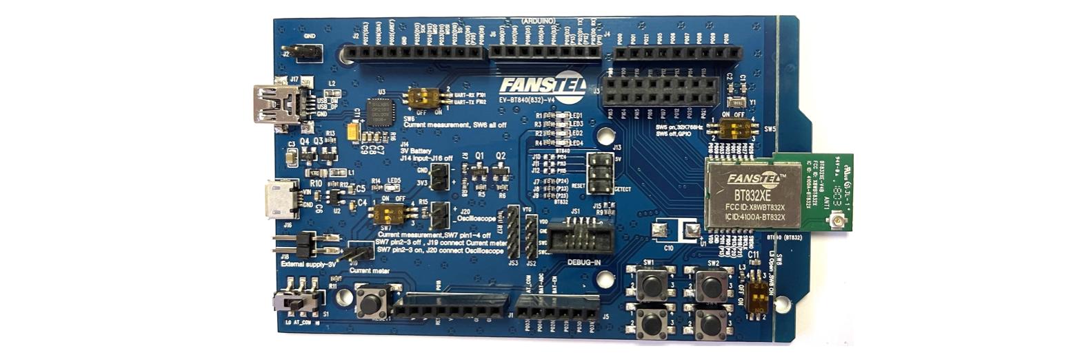 EV-BT832XE, Evaluation board for BT832XE, the longest range Bluetooth 5  module — Fanstel