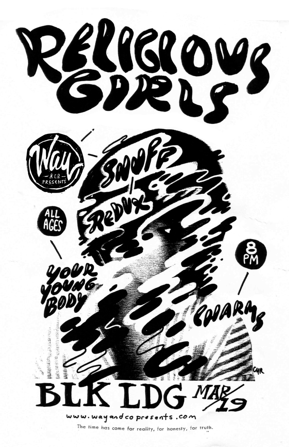 Religious Girls - Snuff Redux - Youryoungbody - Charms - 3.19 at Black Lodge - Way & Co show poster.png