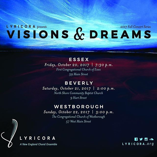 It's here! - Lyricora's 2017-18 season! This season begins with a reprise of our acclaimed Visions and Dreams series. We hope you will join us and don't  forget to pass the invitation along to your choral music-loving friends! ************************************** #choralmusic #choralensemble #ericwhitacre #olagjeilo #darmonmeader #lyricora #concerts #concertseries #classicalmusic