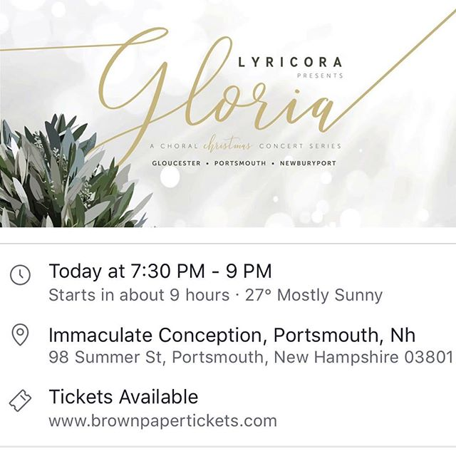 Join us tonight in the great Portsmouth, NH for some great music. #concert #livemusic #performingarts #winterconcertseries #holidays #choralmusic #choraleensemble #olagjeilo #stephenpaulus #christmastime #advent