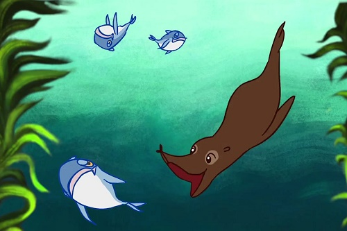 Animated sea lion and fish underwater - film still for A Plastic Sea
