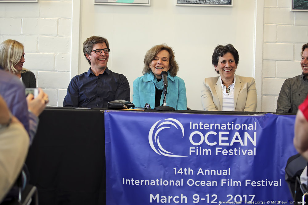 Dr. Sylvia Earle, center, part of the 2017 IOFF shark panel discussion, along with Dr. Sal Jorgensen of the Monterey Bay Aquarium to her left and. Dr. Barbara Block of Stanford University to her right. Photo: Matthew Tominaga.