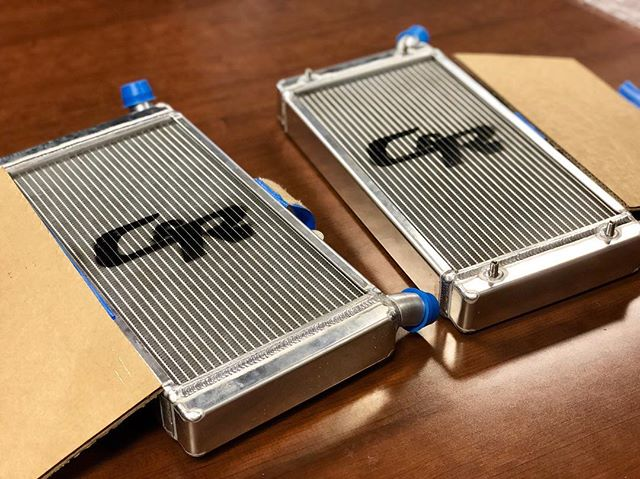 Our custom @crracing radiators have arrived! Thank you C&R for assisting us with this project. This is the first year we will be running dual radiators, and are very excited to prove our calculations. . #fsae #formulasae #formulastudent #fsaemichigan #fsaemichigan2019 #eraumotorsports