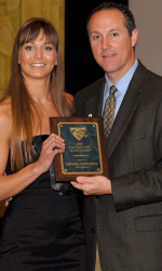 COACH NEV RECEIVING POST ELIGIBILITY LILLIAN-FAHY SCHOLARSHIP, WITH UAB ATHLETIC DIRECTOR BRIAN MACKIN, UAB SENIOR BANQUET
