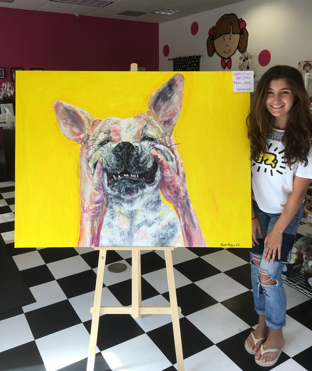 "Hope and the first painting of the ""Smile"" Series, her dog, Leila (formerly Emerson)."