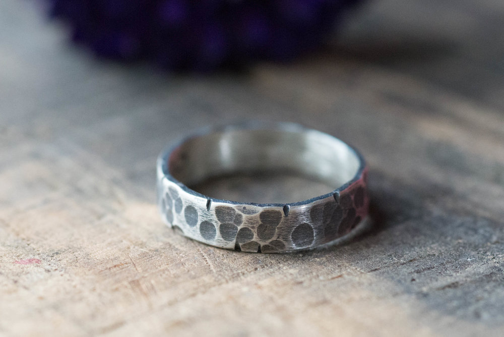 men's hammered and oxidized silver ring