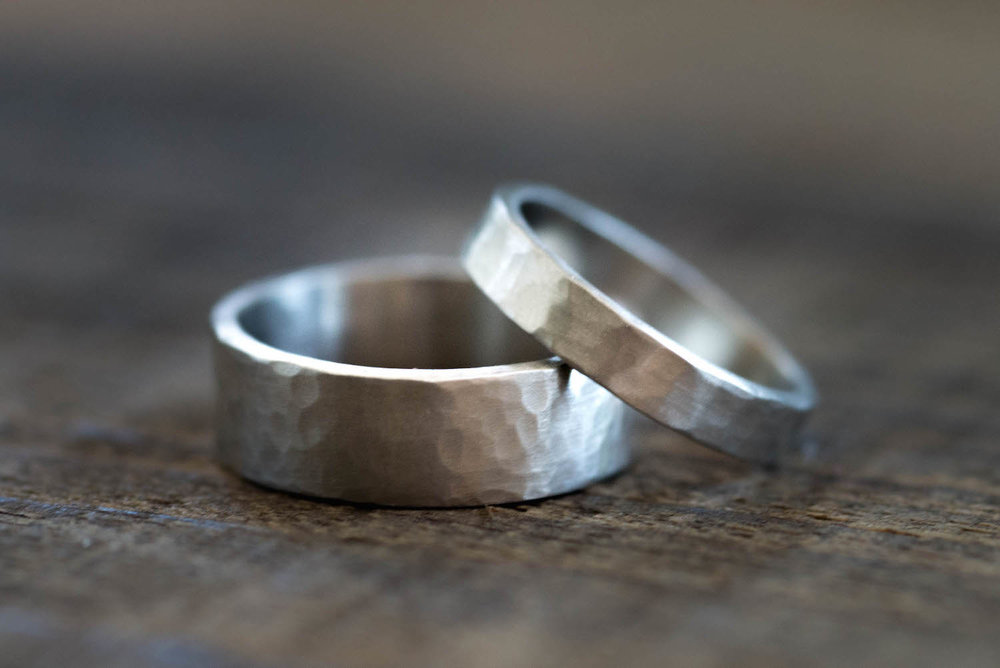 Actual wedding bands made during a workshop.
