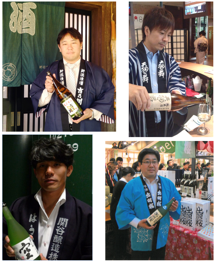 Clockwise from top left - Mr. Onozawa from Yoshinogawa, Mr. Yokoyama from Tengumai, Mr. Nakano from Dewazakura & Mr. Sekiya from Houraisen.
