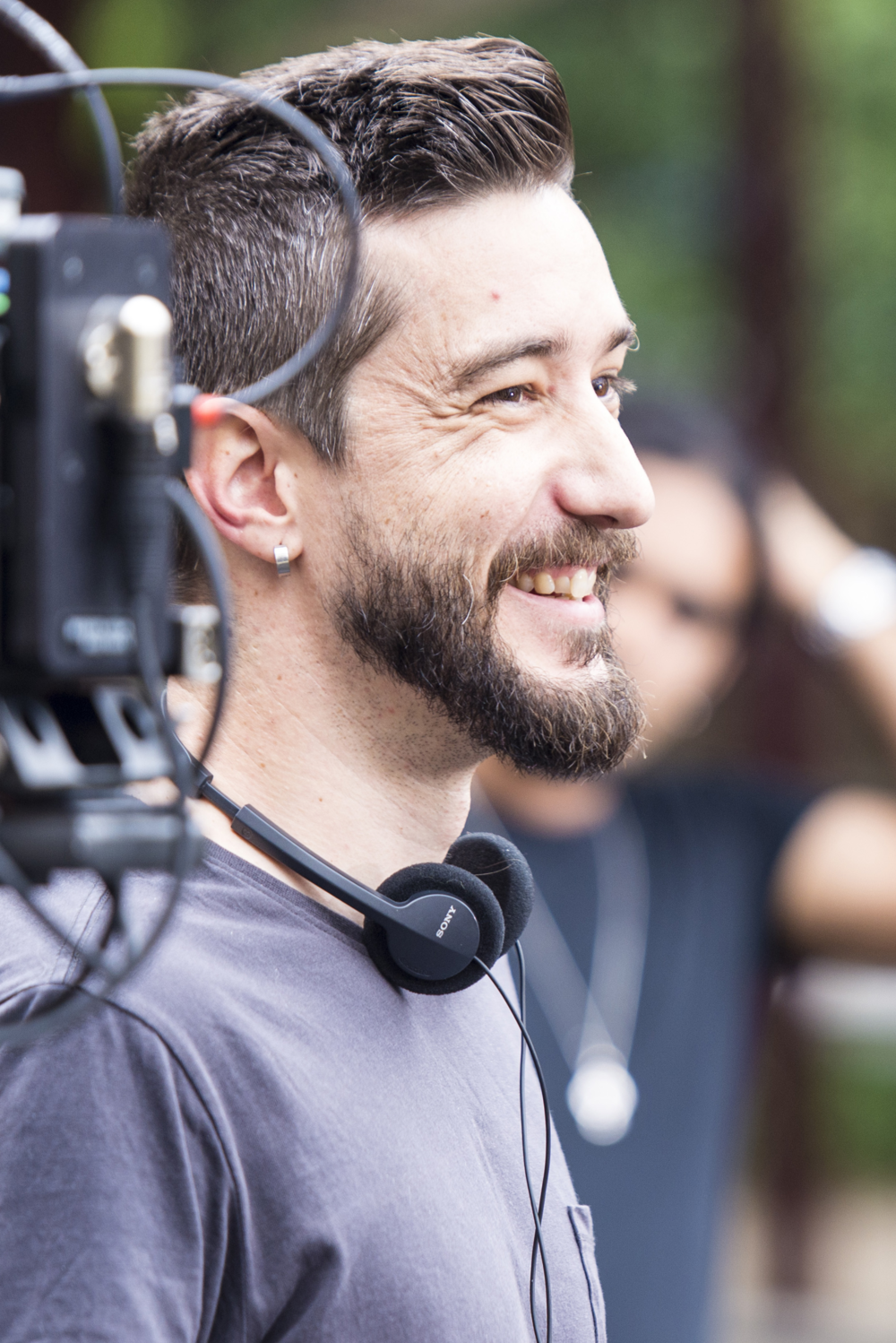 "Director, Peter Nizic, sharing a joke on set of ""Spaghetti"""